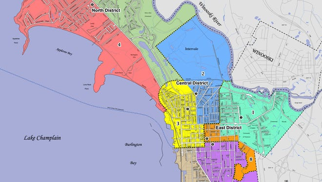 Burlington Ward 4 (orange) and Ward 7 (green) comprise the city's New North End — and the North District — as seen in this municipal map.