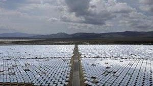 This Aug. 13, 2014, photo shows an array of mirrors at the Ivanpah Solar Electric Generating System near Primm, Nev.