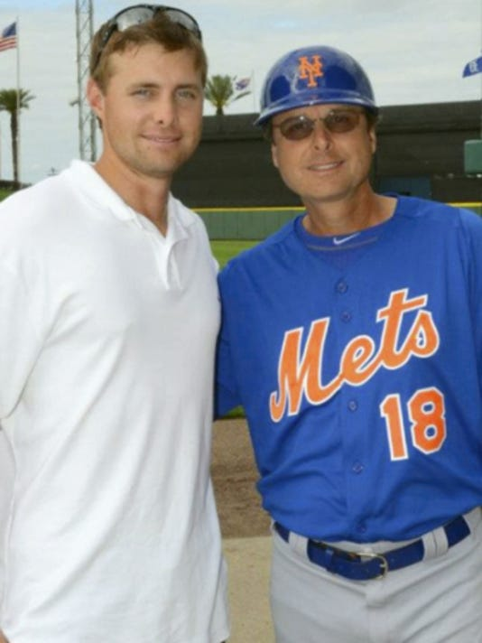 York Revolution pitcher Shawn Teufel, left, with his father, New York Mets third-base coach Tim Teufel. Shawn Teufel said he learned from his father to not dwell on a bad performance on the field because there's always another game.