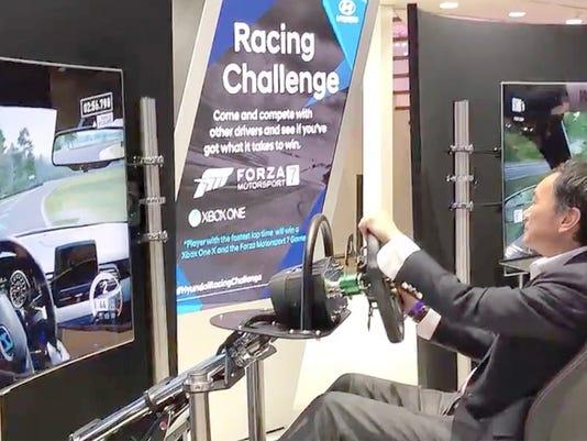Vehicle simulator at the Detroit auto show