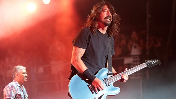 Dave Grohl of the Foo Fighters performs at the 2014 Firefly Music Festival at The Woodlands in Dover.