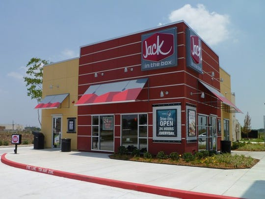 The exterior of a Jack in the Box restaurant.