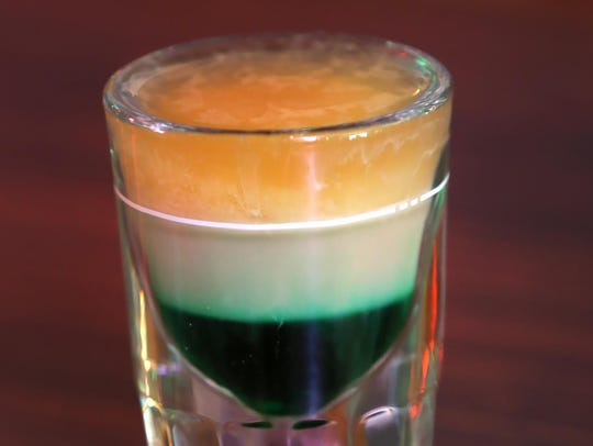 An Irish Flag, a shot prepared with layers of green