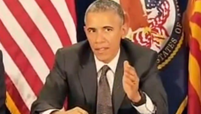 President Barack Obama speaks at the Phoenix VA hospital. March 13, 2015.