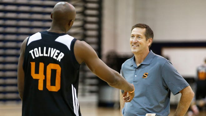 Phoenix Suns forward Anthony Tolliver talks to head coach Jeff Hornacek during training camp on Wednesday, Oct. 1, 2014 at NAU's Rolle Activity Center in Flagstaff.