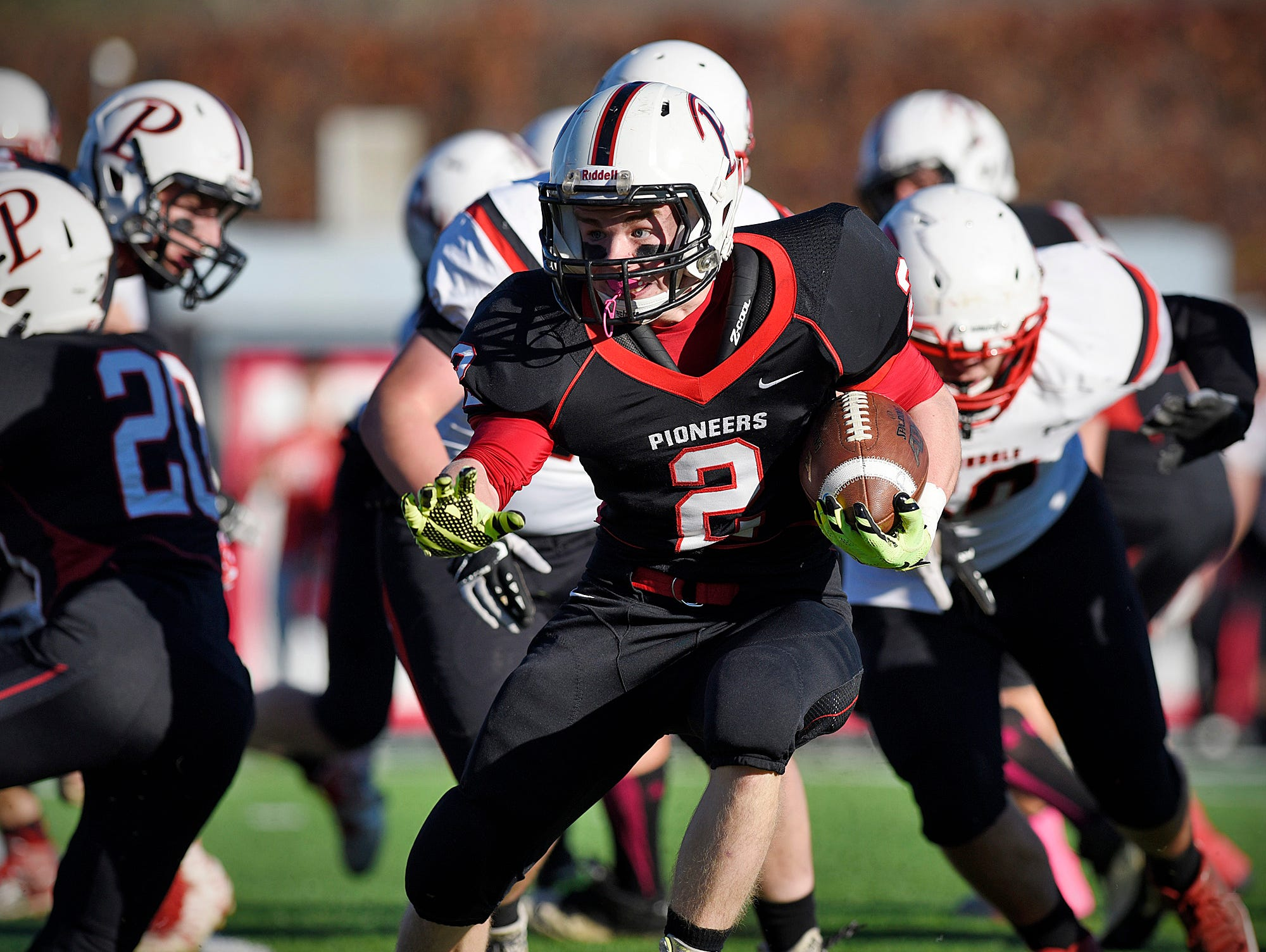 Pierz's Derick Hall breaks through the Annandale line on a run in the first half.