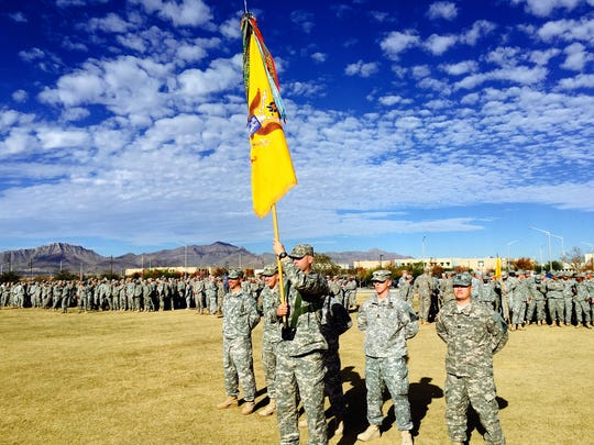 The 1st Battalion, 77th Armor Regiment displays its battalion colors and battle streamers during last week's combat patch ceremony.