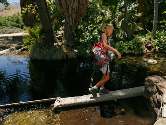 In this 2011 photo, Julie Delo of Yucaipa walks over a small dam in Andreas Creek in the Indian Canyons in Palm Springs. A new lawsuit focuses on protections for a portion of Palm Canyon Creek nearby on federal land.