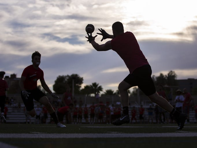 High school summer football scrimmage at Brophy College