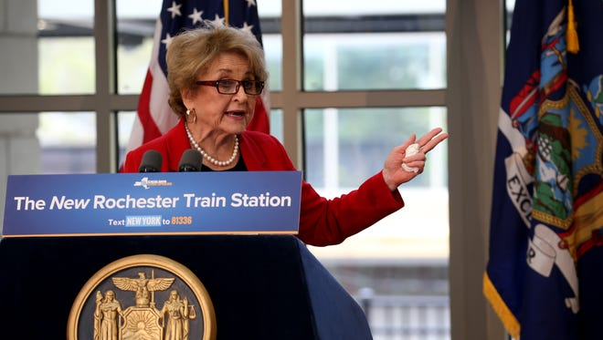 Congresswoman Louise Slaughter at the opening of the new Rochester Station.