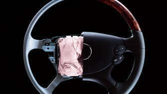 A steering-wheel airbag made by Takata. Most of those involved in current recalls are in the dashboard on the passenger side, though the steering wheel bags have had similar problems.
