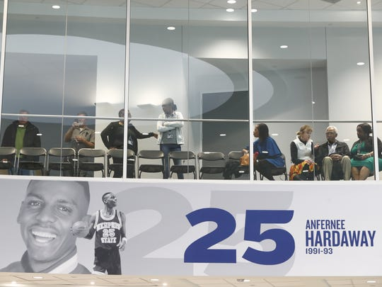A crowd gathers as University of Memphis officials get ready to announce former Tigers star Penny Hardaway as its new men's basketball coach during a Tuesday morning news conference at the Laurie-Walton Family Basketball Center.