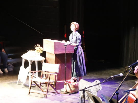 Advice columnist Amy Dickinson speaks to the crowd at Hangar Theatre on Wednesday, April 12.