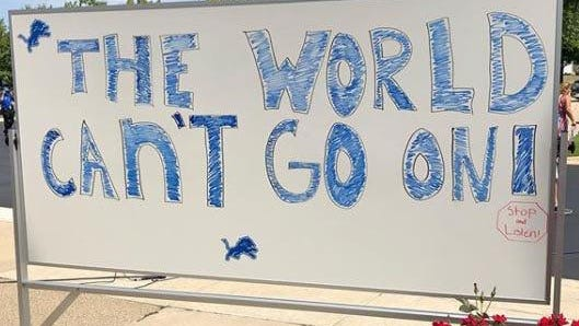 The sign the Detroit Lions showed the media outside the Allen Park headquarters on Tuesday, Aug. 25, 2020.  Lions