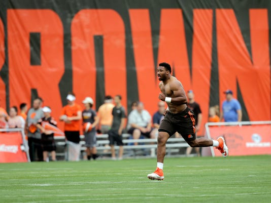Cleveland Browns defensive end Myles Garrett runs sprints during practice at the NFL football team's training camp facility, Friday, July 28, 2017, in Berea, Ohio. (AP Photo/Tony Dejak)