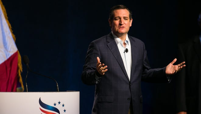 Republican presidential candidate Ted Cruz speaks during the Faith and Freedom Coalition Dinner at the Iowa State Fairgrounds in Des Moines on Saturday, September 19, 2015.