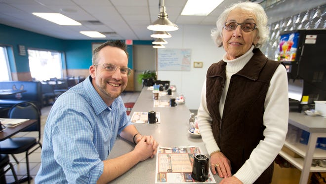 Ryan Drifka and his mother Donna Rolstad are co-owners of R.D.' s Diner in Stevens Point, Tuesday, Jan. 19, 2015.