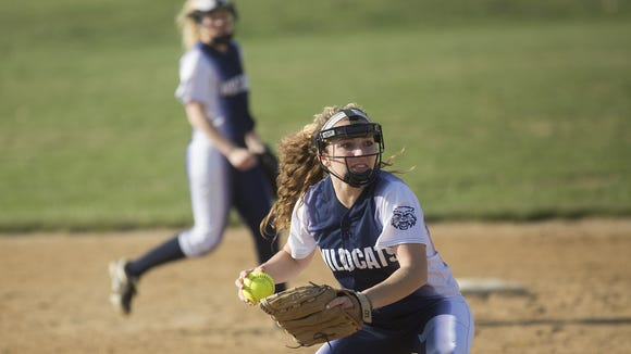 Dallastown's Gabby Jeanmenne throws to first after fielding a ground ball. Dallastown beat Kennard-Dale 13-2 in their season-opening softball game at Kennard-Dale High School in Fawn Grove on Thursday.