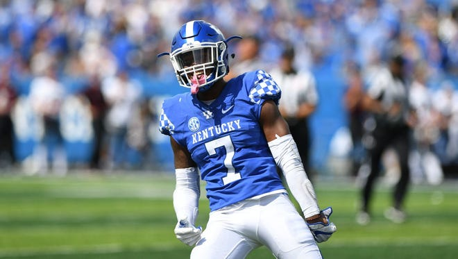 University of Kentucky safety Mike Edwards celebrates after intercepting the ball during the University of Kentucky football game against Eastern Kentucky University in Lexington, KY on Saturday, September 9, 2017.