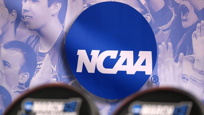 The NCAA logo is seen March, 16, 2017, in Salt Lake City. In a letter Jan. 23, 2018, the NCAA said it is investigating Michigan State University's role in the Larry Nassar sexual abuse scandal.