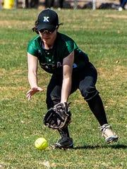 Kinnelon's centerfielder Haley Angelica (8) chases