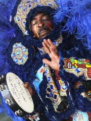 Big Chief Iron Horse & the Black Seminoles Mardi Gras Indians perform during the 2012 New Orleans Jazz & Heritage Festival on May 3, 2012, in New Orleans.