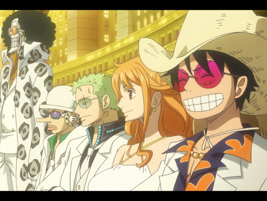 "The Straw Hat Pirates in a scene from ""One Piece Gold"""