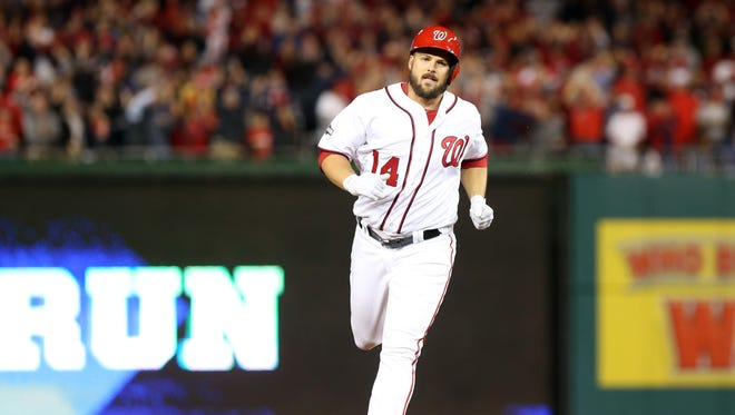 NLDS, Game 5: Nationals pinch hitter Chris Heisey hits a two-run home run in the bottom of the seventh inning to cut the Dodgers lead to 4-3.