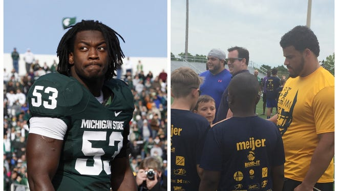 Former Michigan State linebacker  Greg Jones, left, and Michigan defensive tackle Mike Martin, right, are combining to hold a youth football camp next month.