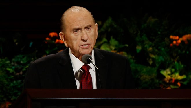 President Thomas S. Monson speaks during the Sunday morning session of the 186th Semiannual General Conference of The Church of Jesus Christ of Latter-day Saints at the Conference Center in Salt Lake City.