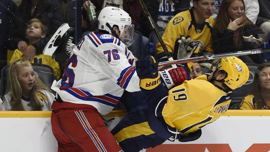 New York Rangers defenseman Brady Skjei puts a big