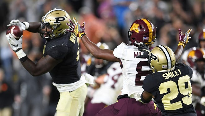 Purdue linebacker Ja'Whaun Bentley  intercepted a pass and returned it 76 yards for a touchdown against Minnesota last week.
