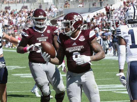 Mississippi State wide receiver Donald Gray (6) reacts