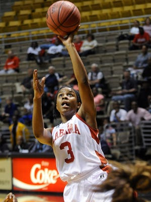 Alabama all-star Kristian Hudson (3) shoots against Mississippi during the Alabama-Mississippi Basketball All-Star Game at the Alabama State University Acadome in Montgomery, Ala., on Friday March 20, 2015.