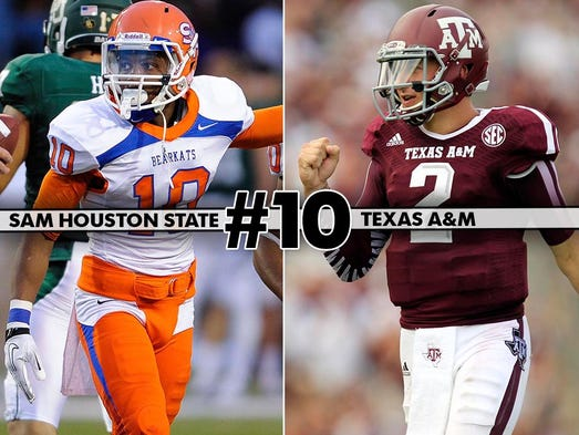 Sam Houston State (1-0) at No. 7 Texas A&M (1-0), 7 p.m. ET, ESPN3: A week after eight FCS schools beat FBS teams, the two-time defending FCS-runner up visits College Station looking to shock Johnny Manziel and Texas A&M.