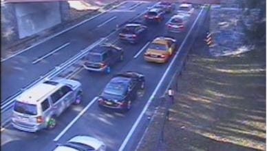 Traffic is backed up on the northbound Bronx River Parkway near Greenacres Avenue in Scarsdale in this traffic camera image after a three-car crash at Claremont Road in Scarsdale closed the northbound parkway, Nov. 18, 2016.