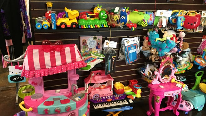 Childrens Trove Consignment has lots of toys as well as clothing for infants through teens.