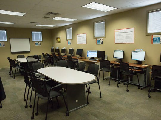 The New Mexico Workforce Connection multi-use room, where employers can use the space for interviews and clients can use the computers for practice interviews. Friday September 15, 2017.