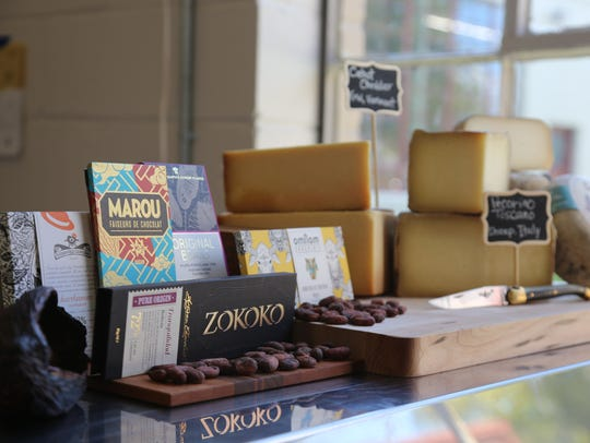 A small display of some of the chocolates and cheeses