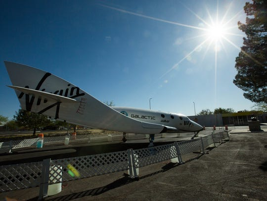 A replica of Virgin Galactic's SpaceShipTwo sat on exhibit outside Las Cruces City Hall for several months in 2018.