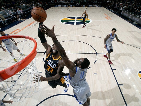 SALT LAKE CITY, UT - NOVEMBER 06: Willie Reed #33 of the Salt Lake City Stars goes up for the shot against Jameel Warner #0 of the Texas Legends on November 06, 2018 at the vivint.SmartHome Arenain Salt Lake City, Utah. NOTE TO USER: User expressly acknowledges and agrees that, by downloading and or using this Photograph, User is consenting to the terms and conditions of the Getty Images License Agreement. Mandatory Copyright Notice: Copyright 2018 NBAE (Photo by Melissa Majchrzak/NBAE via Getty Images)