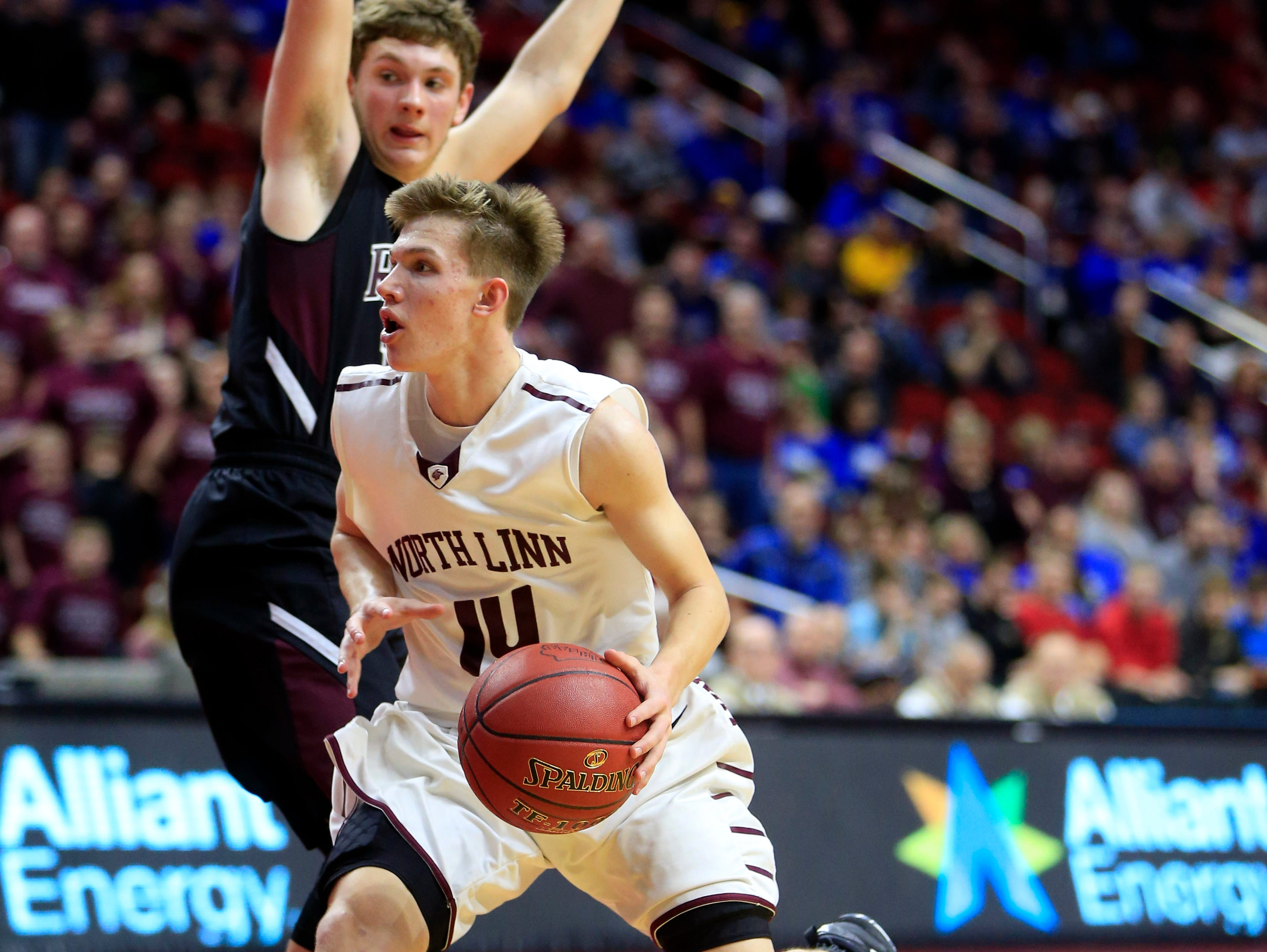 Jake Hilmer of North Linn drives to the basket during Monday's Class 1A quarterfinal against Maple Valley-Anthon-Oto in Des Moines. Hilmer has helped the Lynx to an unbeaten season entering Thursday's semifinals.