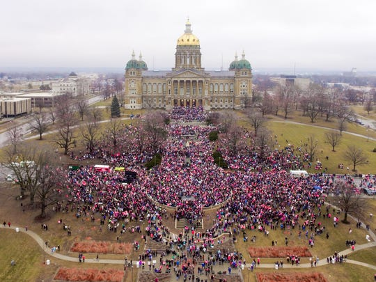 The Women's March attracts tens of thousands to the Iowa Statehouse in Des Moines on Jan. 21, 2017.