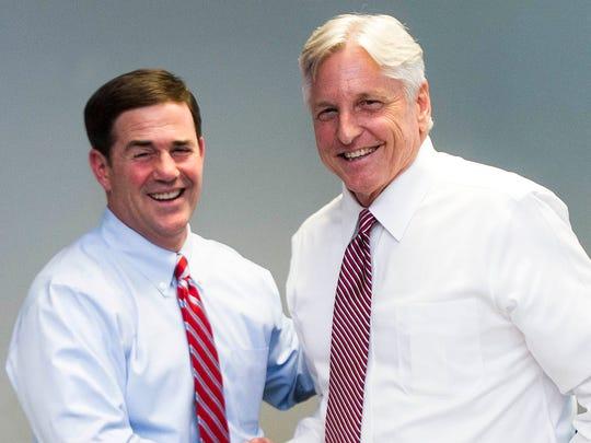 Gubernatorial candidates Doug Ducey (left) and Fred