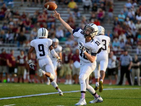 West York's Corey Wise, shown here throwing a pass in a game last season, threw for 372 yards and four touchdowns in the Bulldogs' 49-22 win over Dover last week. DISPATCH FILE PHOTO