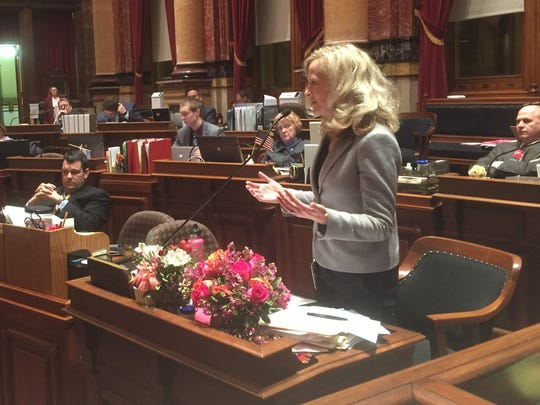 Sen. Janet Petersen, D-Des Moines, speaks on the Iowa Senate floor at about 5:40 a.m. on Thursday, Jan. 16, 2017, as lawmakers conducted a marathon debate on a collective bargaining bill.