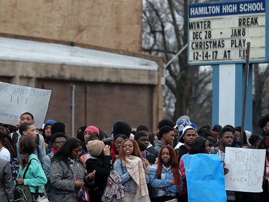 Hamilton High School students protested in January when principal Monekea Smith was suspended after a Shelby County Schools investigation. Smith was ultimately demoted.