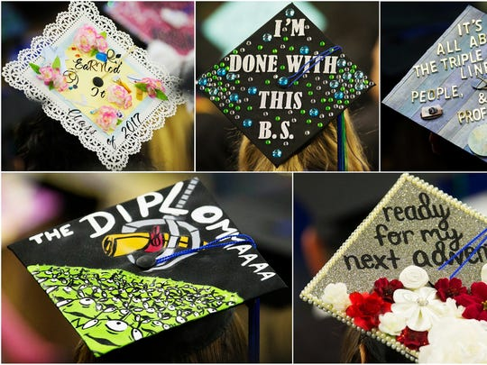 Several Florida Gulf Coast University students decorated their caps for FGCU's commencement ceremonies on Saturday at Alico Arena in Fort Myers. Roy McTarnaghan, FGCU's first president, was the commencement speaker.