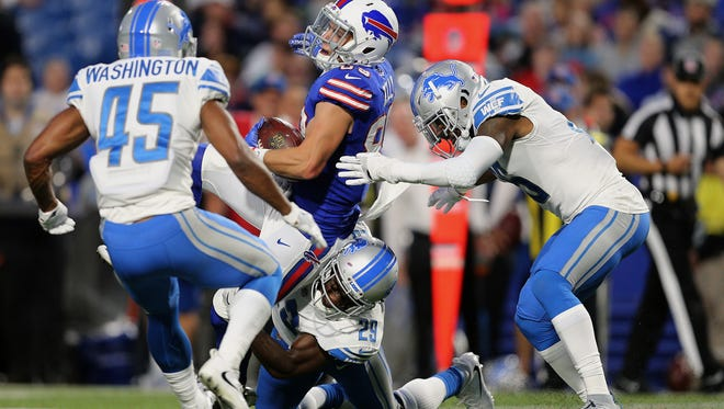 Bills receiver Brandon Reilly can't hold onto this pass in a preseason game against Detroit.