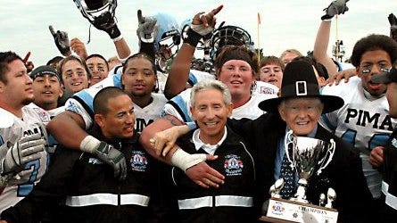 This is the book cover  for Catalina  Foothills football coach  Jeff Scurran's One Game One Time, recounting his Pima Community College's 2004 bowl victory over heavily-favored Kilgore from Texas.